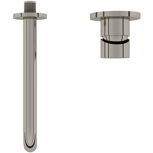 Mode Spencer round wall mounted brushed nickel basin mixer tap offer pack