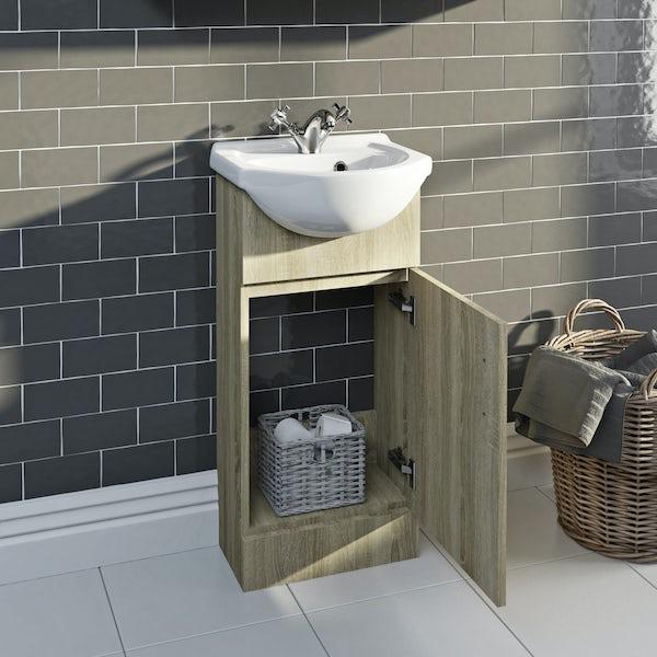 Eden oak vanity unit and basin 410mm