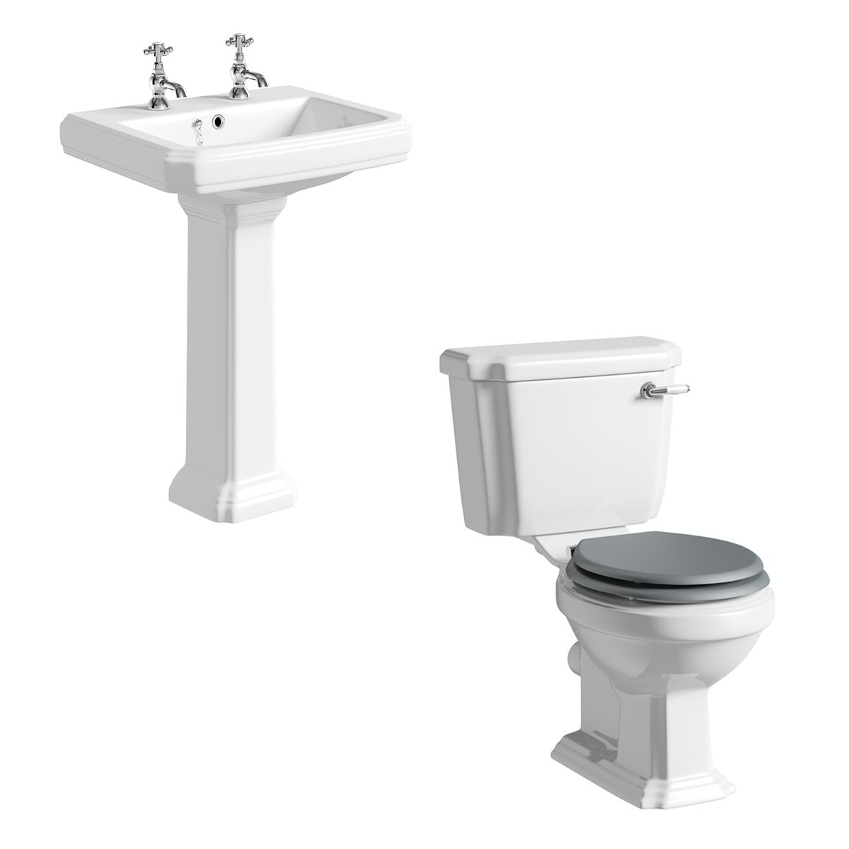 The Bath Co. Dulwich cloakroom suite with grey seat and full pedestal basin 615mm