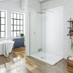 Mode luxury 8mm walk in shower glass panel with shower tray 1200 x 800