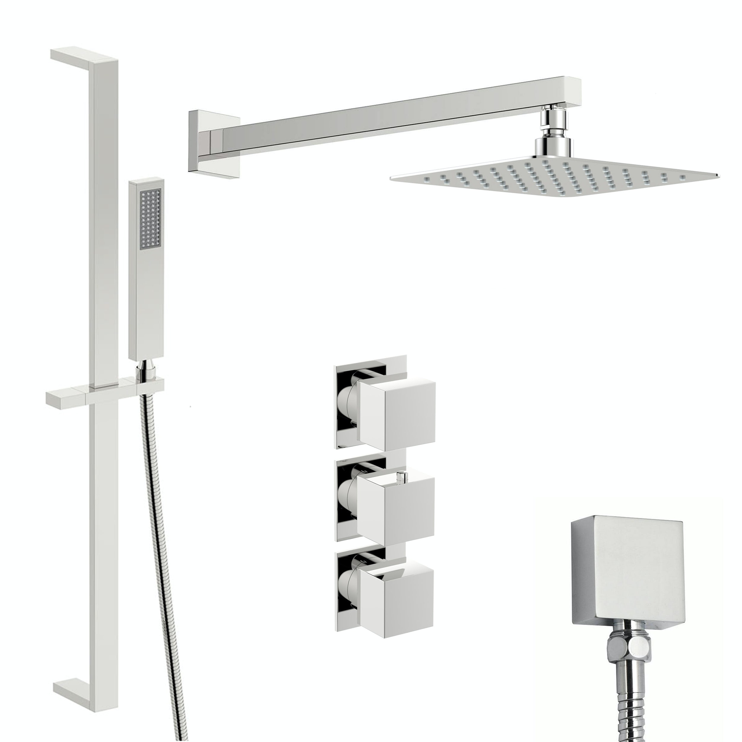 Mode Cooper thermostatic shower valve with slider rail and wall shower set
