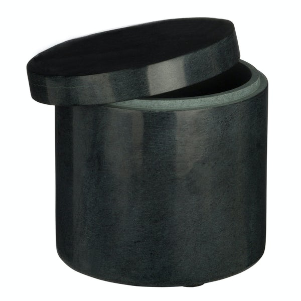 Black marble storage jar