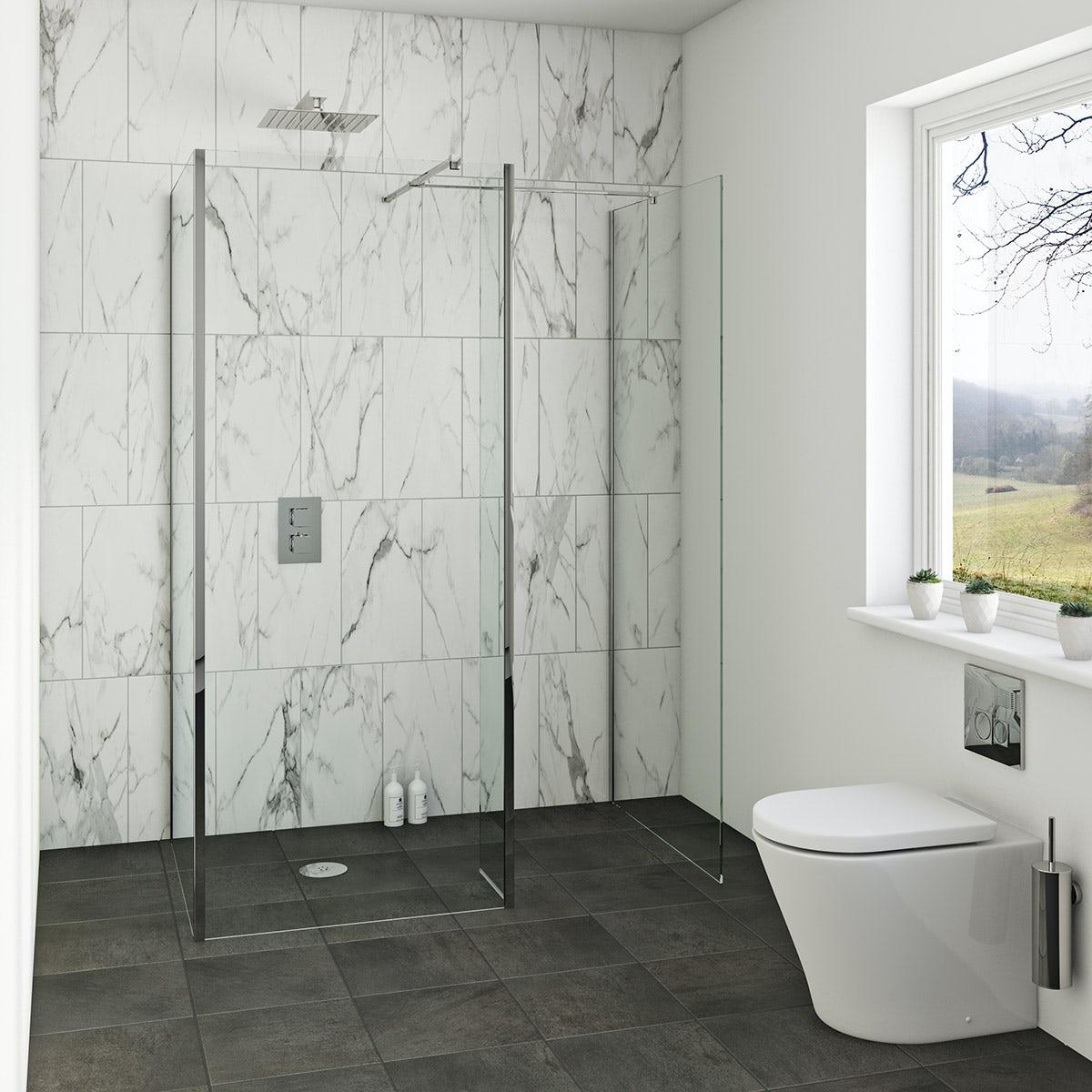 Mode luxury 8mm wet room walk in glass panel pack 1700 x 900