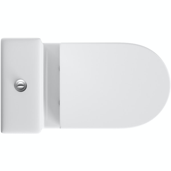 Orchard Dee close coupled toilet with round push button and soft close toilet seat