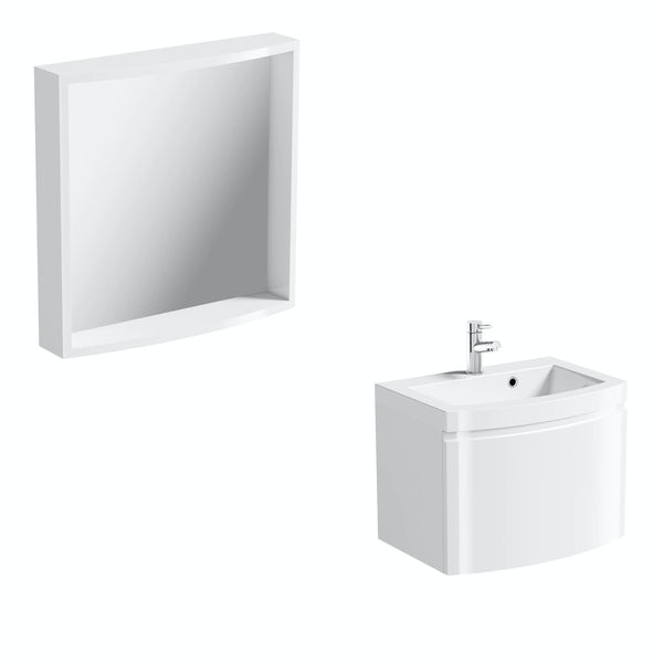 Harrison white wall hung vanity unit and mirror offer