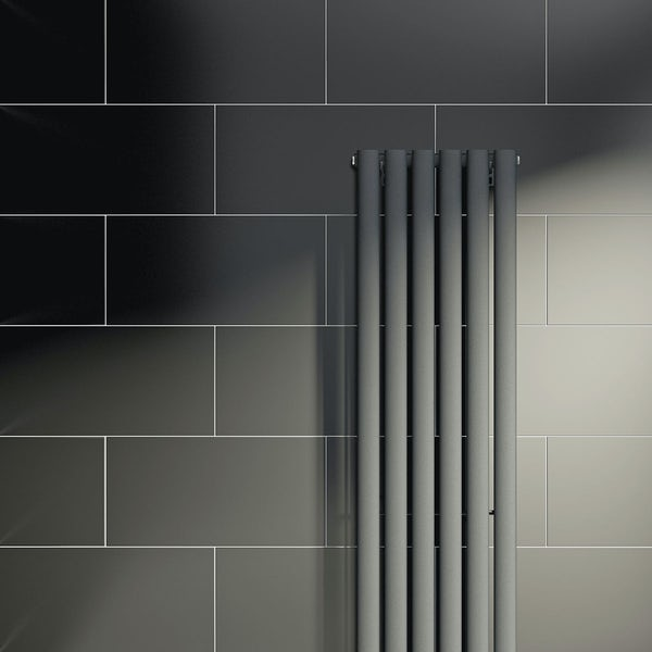 British Ceramic Tile Pure black satin tile 298mm x 498mm