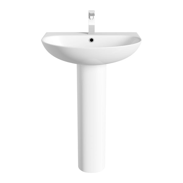 Mode Harrison close coupled toilet and full pedestal basin suite