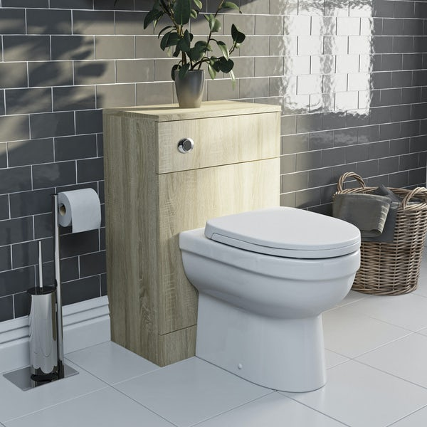Eden oak slimline back to wall unit and toilet with seat