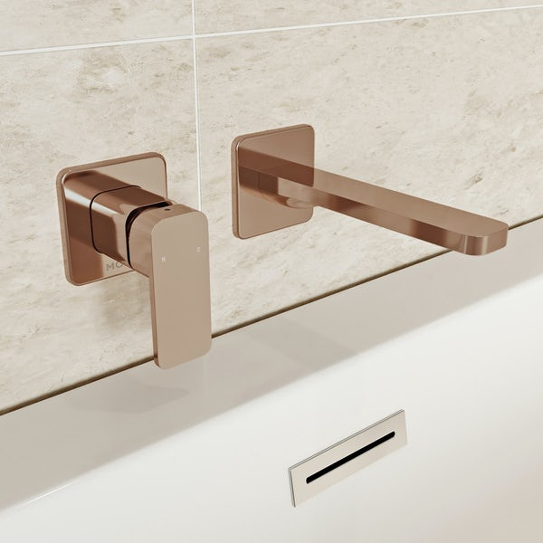 Mode Spencer square wall mounted rose gold bath mixer tap
