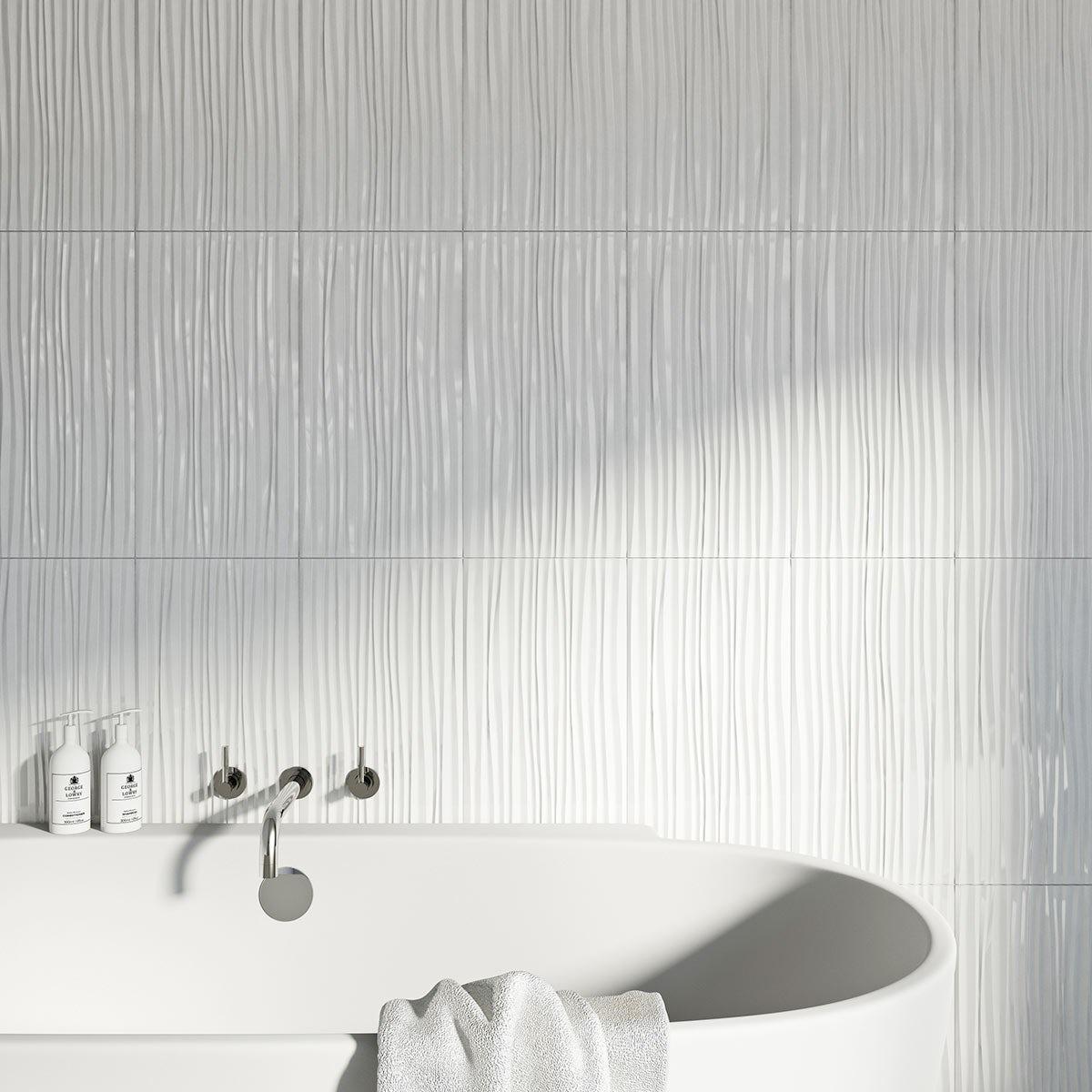 British Ceramic Tile Pure white wave gloss tile 248mm x 498mm