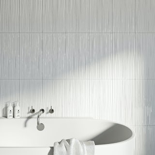British Ceramic Tile Pure white wave gloss tile 248mm x 498mm