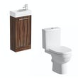 Compact walnut floor standing unit with Eden close coupled toilet