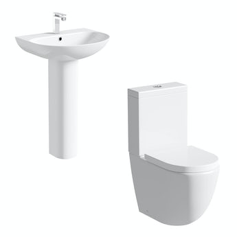 Mode Harrison rimless close coupled toilet and full pedestal basin suite
