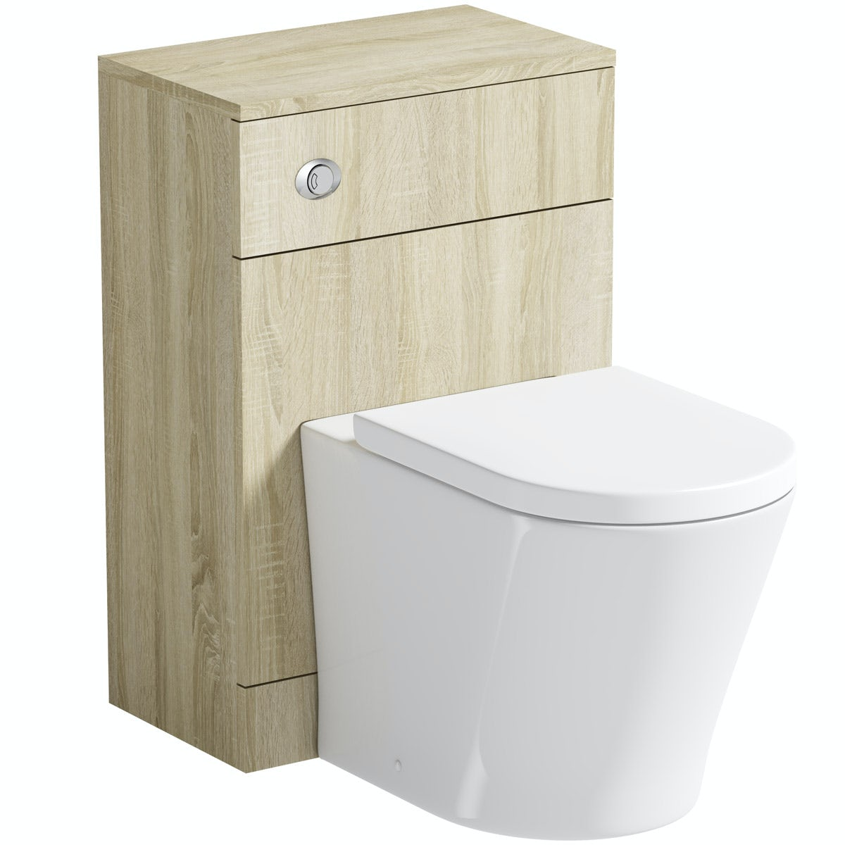 Orchard Eden oak slimline back to wall unit with  contemporary toilet and seat
