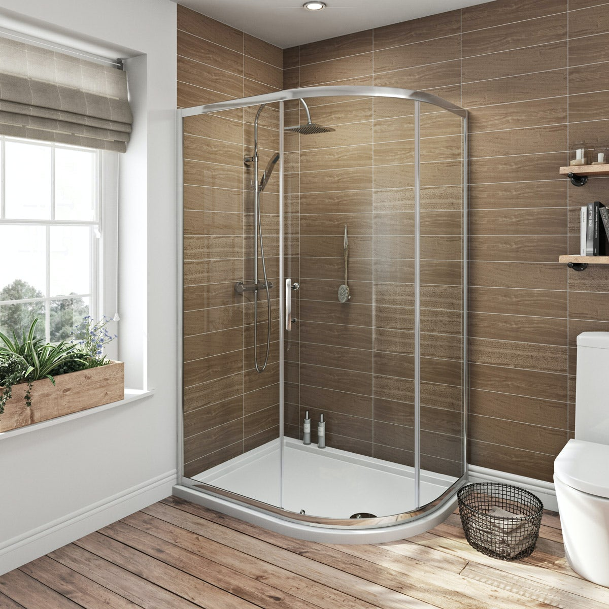 6mm single door offset quadrant shower enclosure 900 x 760