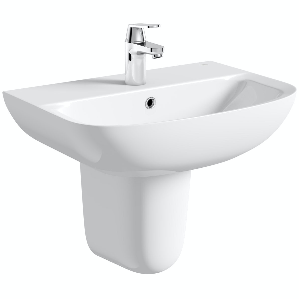 Grohe Bau 1 tap hole semi pedestal basin 600mm