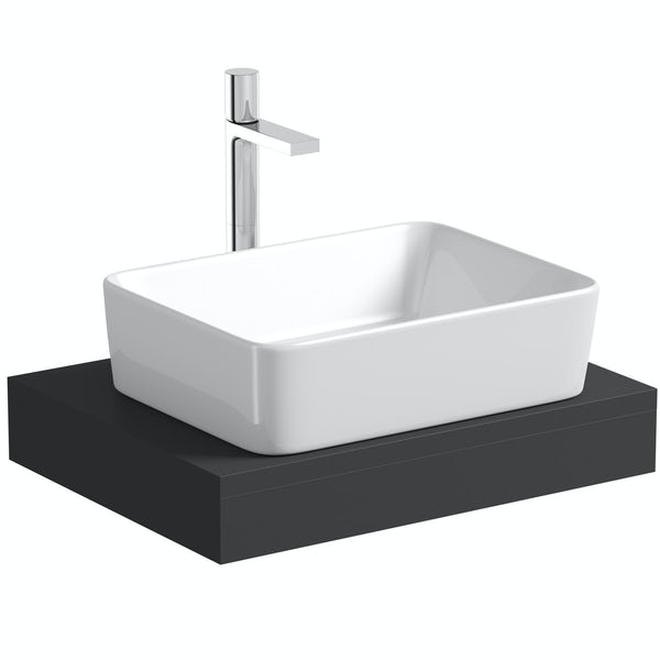 Mode Orion slate countertop shelf with Ellis basin, tap and waste