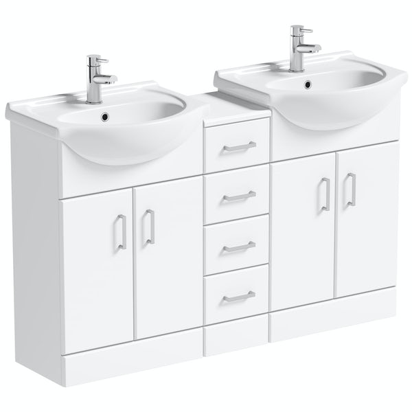 Orchard Eden white double basin & multi drawer combination