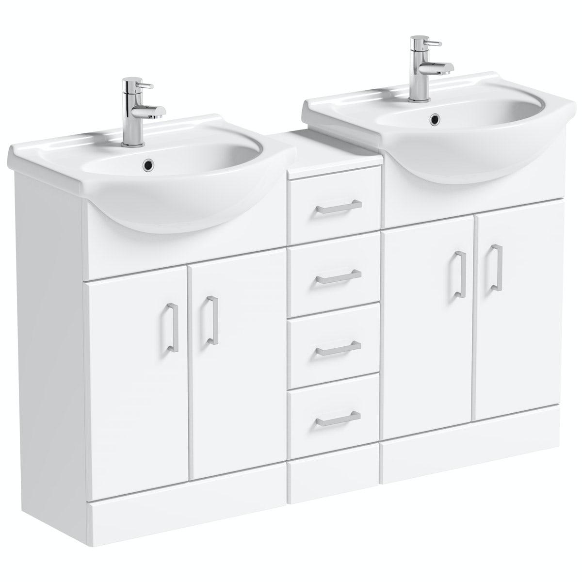 Orchard Eden white double basin & multi drawer combination