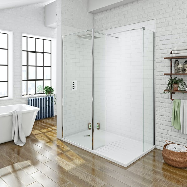 Spacious 8mm Walk in Shower Enclosure Pack 1400 x 900