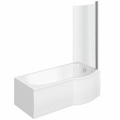 Evesham right handed P shaped shower bath 1675mm with 6mm shower screen