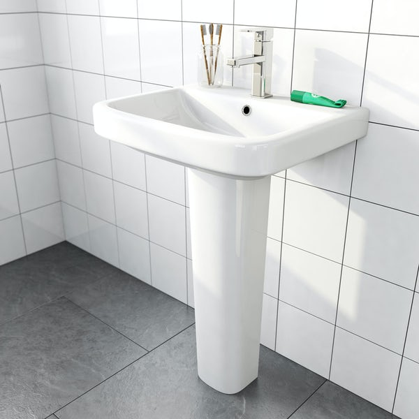 Mode Carter 1 tap hole full pedestal basin 550mm