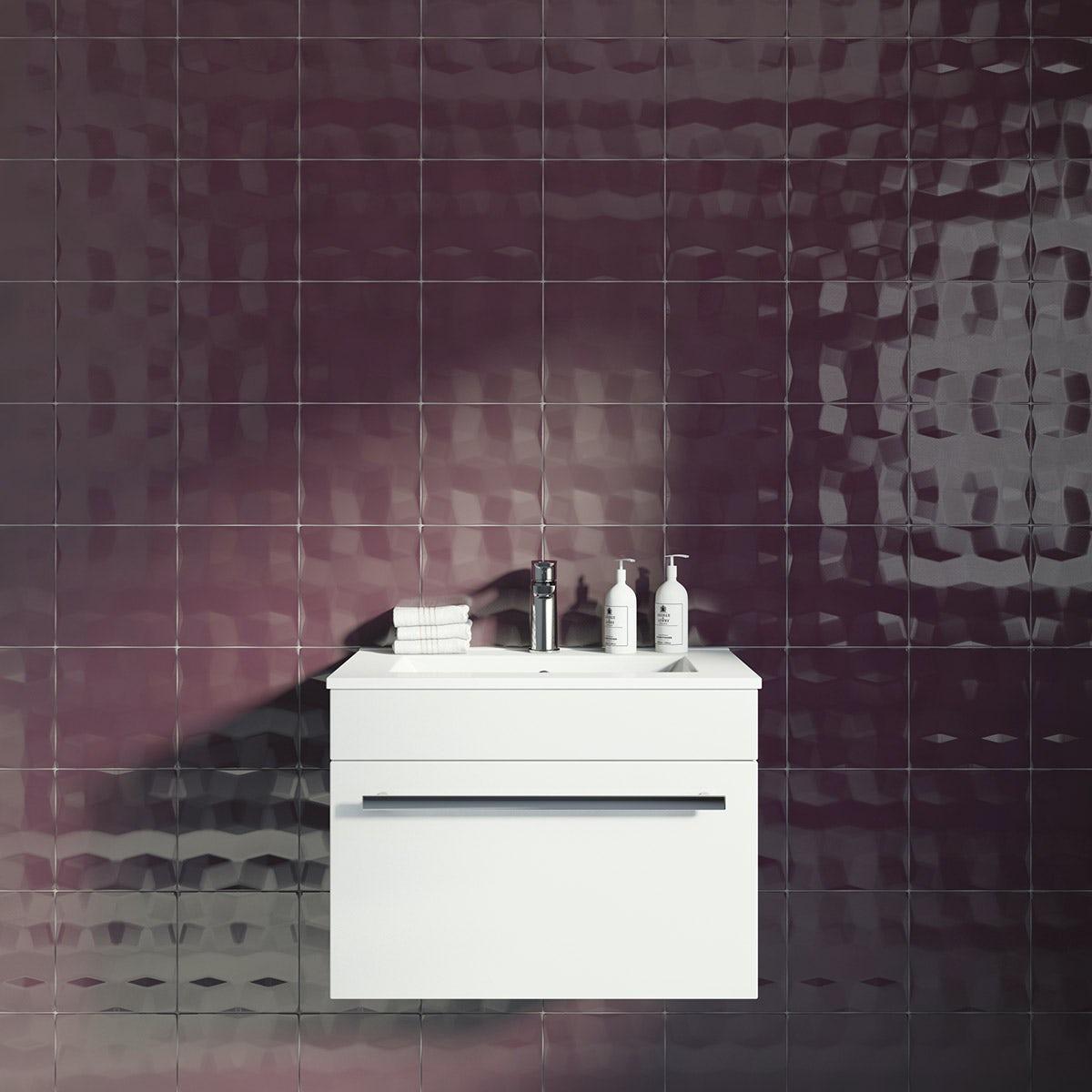 Studio Conran facet plum gloss tile 198mm x198mm