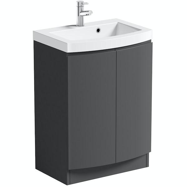 Mode Harrison slate furniture package with floorstanding door unit 600mm