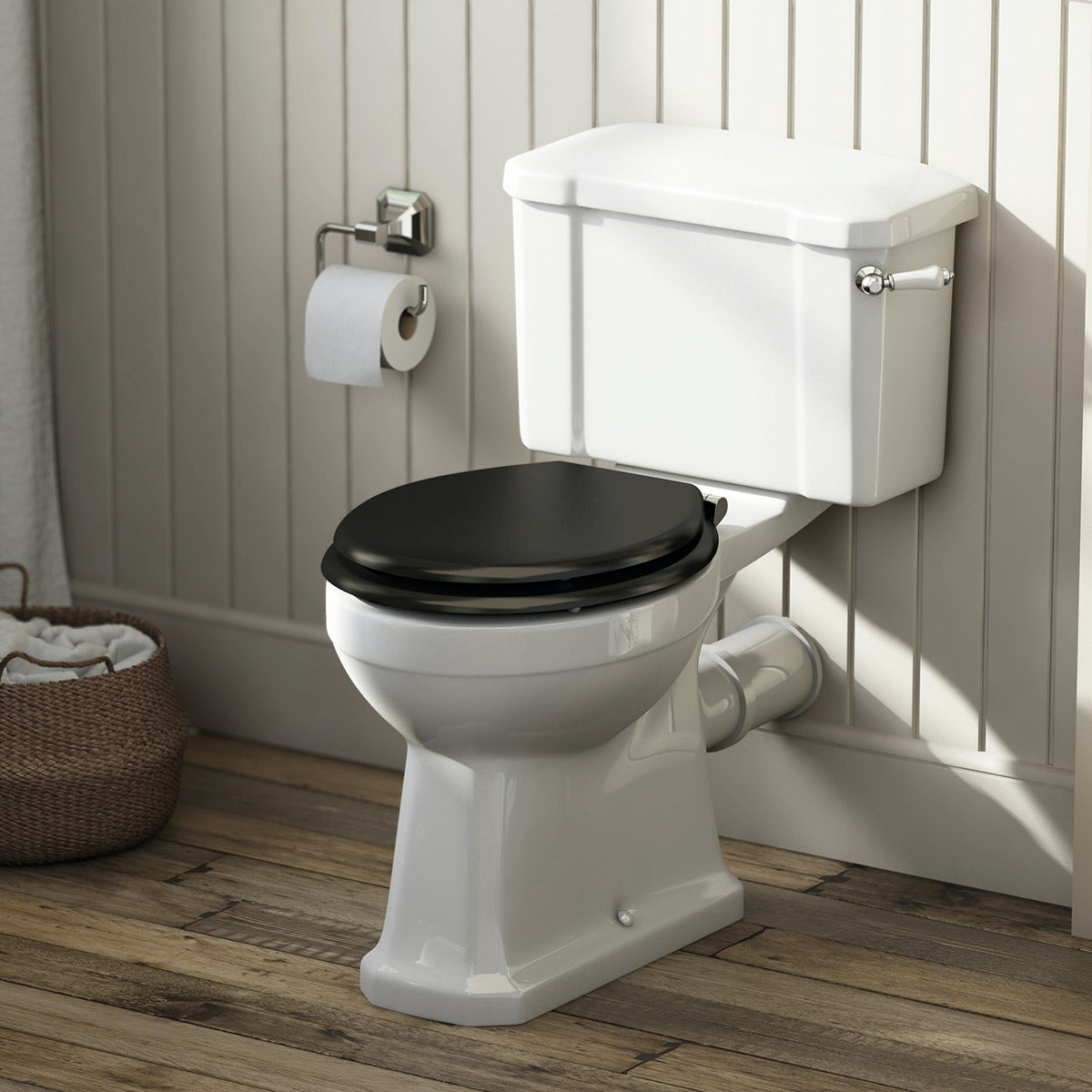 Camberley close coupled toilet with wooden soft close seat black