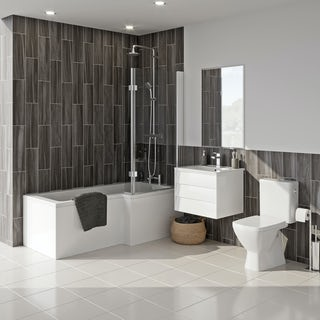 Grohe and Mode Cooper complete right handed shower bath and furniture suite 1500 x 850