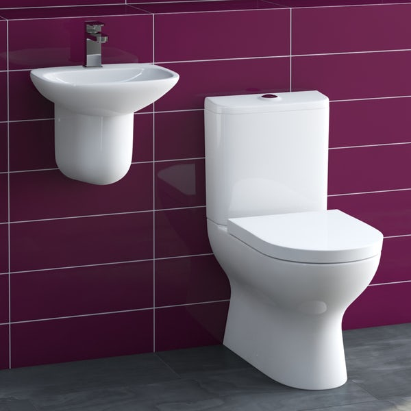 Heath close coupled toilet and semi pedestal basin suite