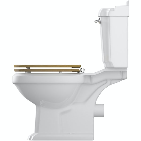 Winchester close coupled toilet with solid oak seat and fittings pack