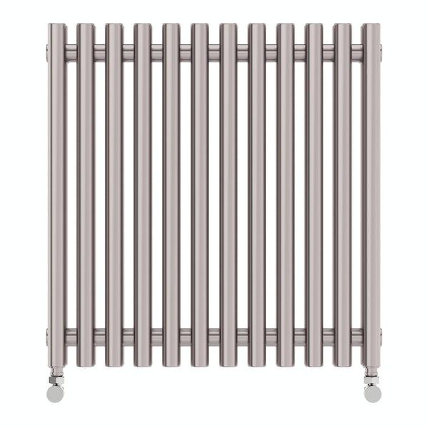 Tune matt nickel double horizontal radiator 600 x 590