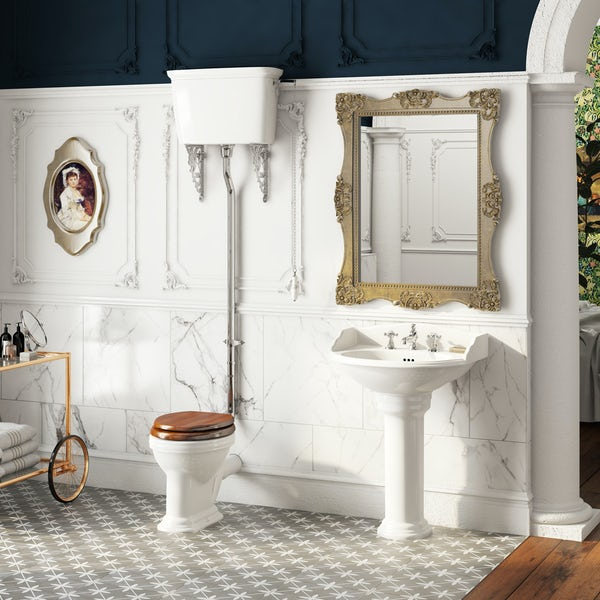 Belle de Louvain Charlet high level toilet and full pedestal suite with chrome fittings and taps