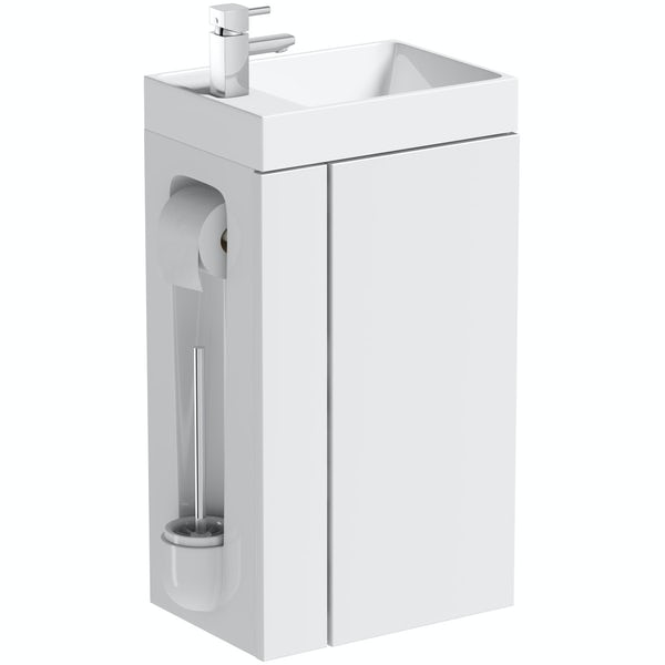 Orchard Compact white vanity unit with toilet roll holder & brush