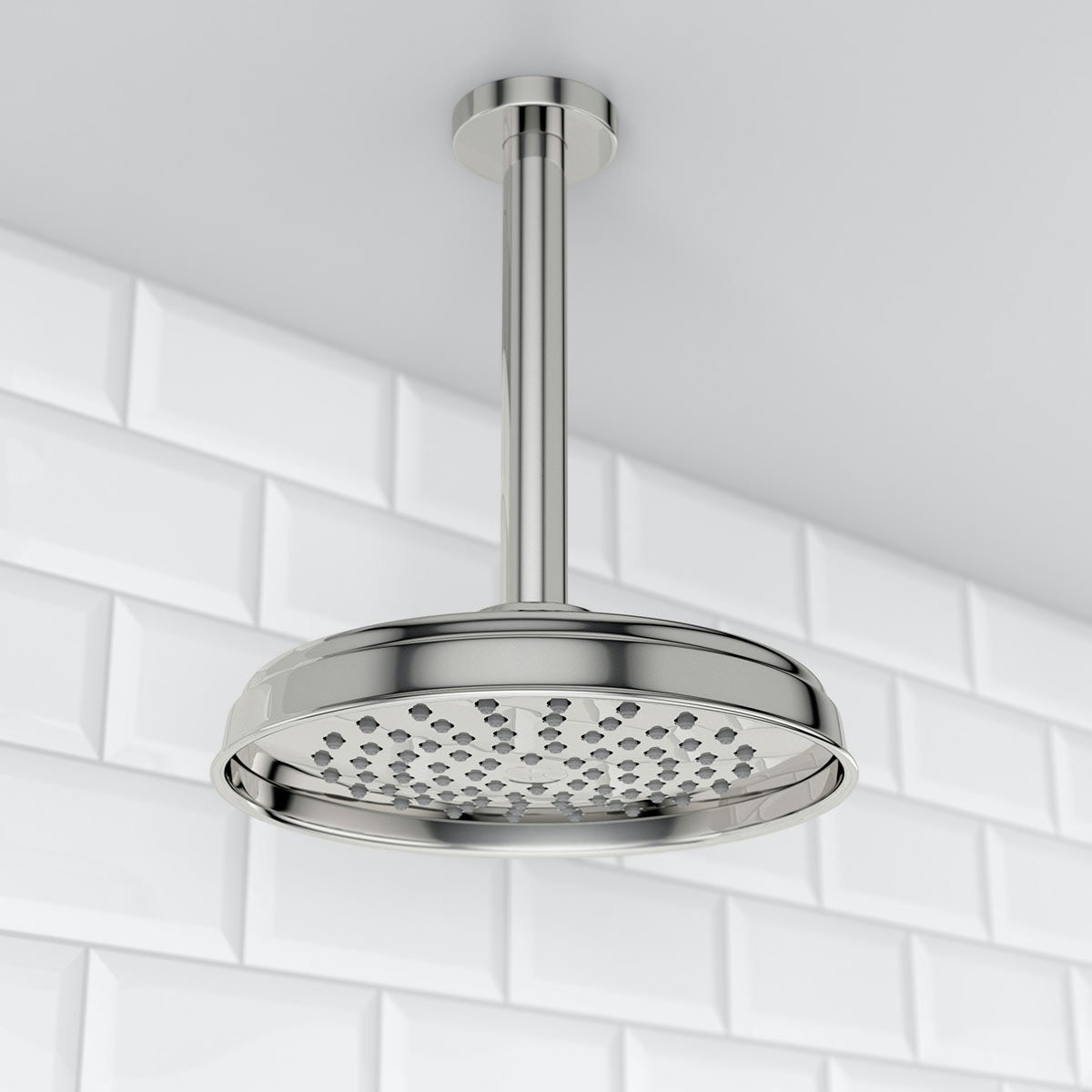The Bath Co Rain Can Shower Head With Round Ceiling Arm ...