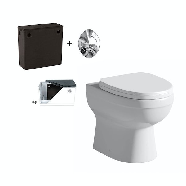 Eden back to wall toilet with soft close toilet seat and concealed cistern