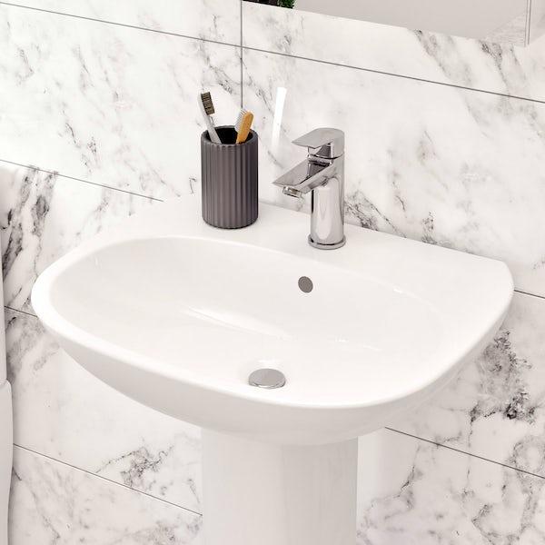 Ideal Standard Tesi cloakroom suite with full pedestal basin 550mm