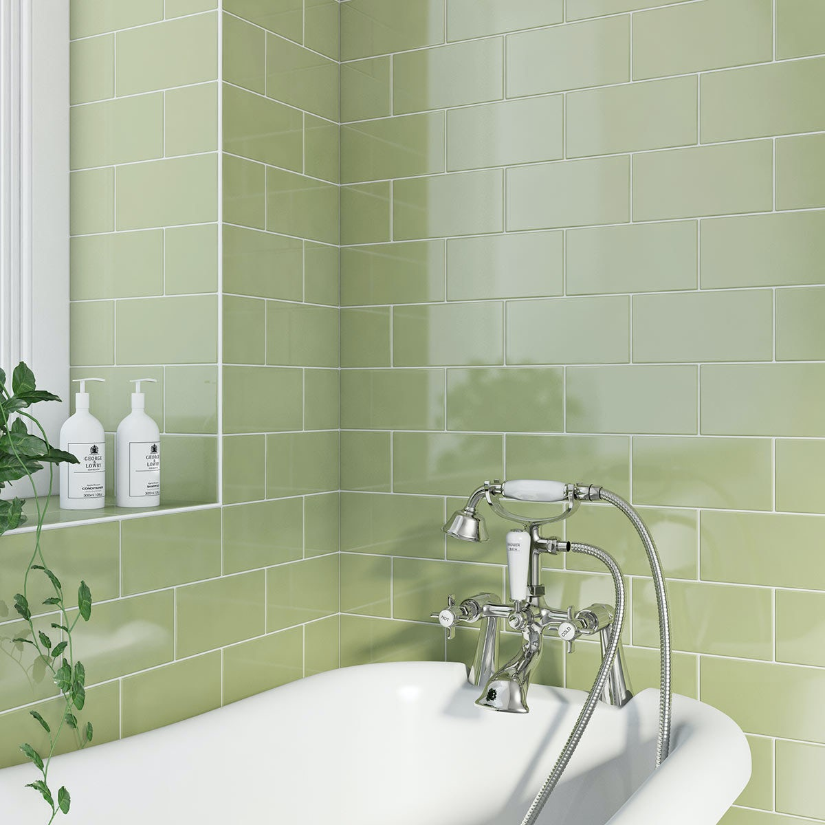 pistachio metro tile with bath and tap