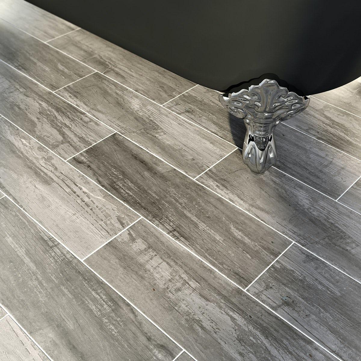 Bark charcoal wood effect grey matt tile 148mm x 498mm