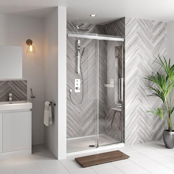 Mode Foster stainless steel sliding shower door 1200mm