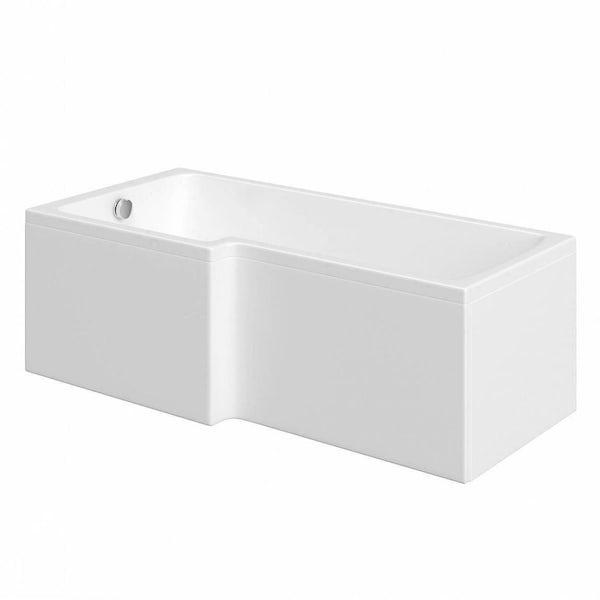 Mode Ellis complete left hand shower bath suite with contemporary white floor drawer unit