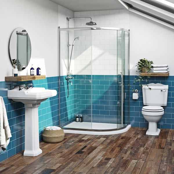 The Bath Co.Winchestertraditional one door offset quadrant shower enclosure offer pack