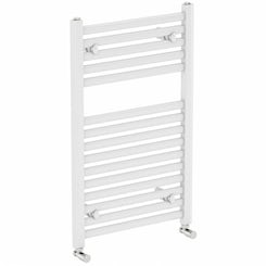 White heated towel rail 800 x 500