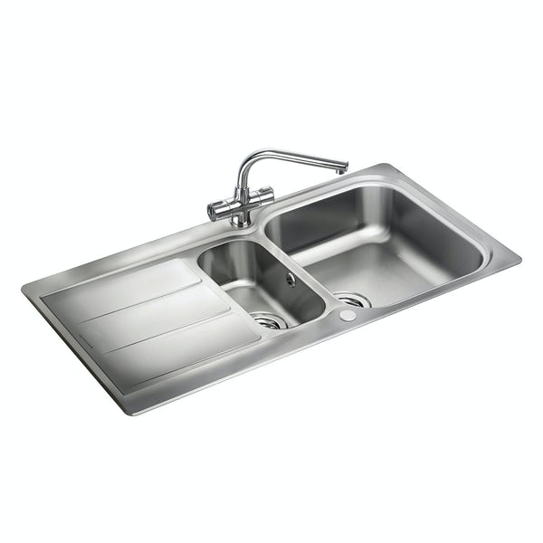Rangemaster Glendale 1.5 bowl reversible kitchen sink with waste kit