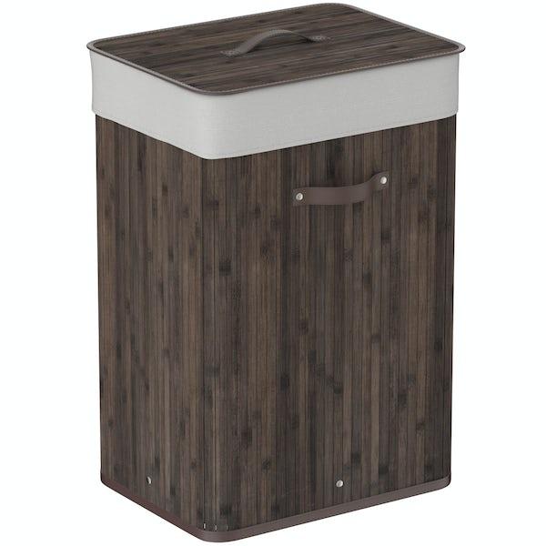 Natural bamboo dark brown rectangular laundry basket