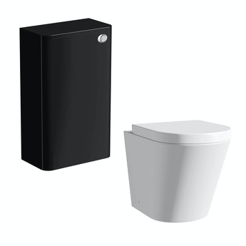 Mode Planet black back to wall toilet unit and Arte toilet with seat