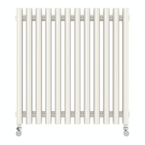Tune soft white double horizontal radiator 600 x 590