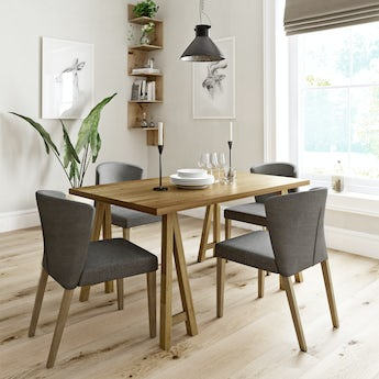 Hudson oak trestle table with 4 x Hudson grey dining chairs
