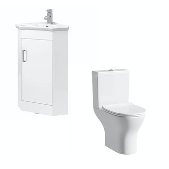Compact White Corner Unit with Compact Round Toilet